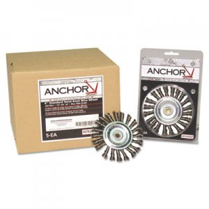 Anchor Brand Knot Wheel Brush, 4in Diameter, Stainless Steel, .014in Wire ANR4K58S