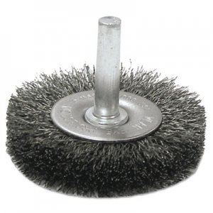 "Weiler Crimped-Wire Radial-Wheel Brush, 3"" dia, 13/16"" Trim, .014 Wire, 1/4"" Arbor WEI17966 804-17966"