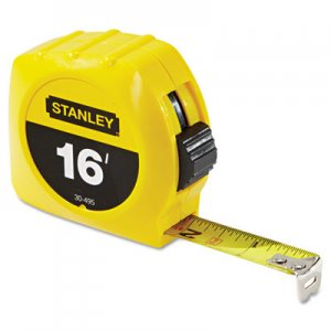 "Stanley Tools Tape Rule, 3/4"" x 7ft, Plastic Case, Yellow, 1/16"" Graduation BOS30495 680-30-495"
