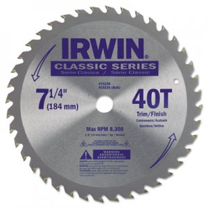 "IRWIN 40T Carbide-Tipped Circular Saw Blade, Trim/Finish, 7-1/4"" Diameter IRW15230ZR 585-15230ZR"