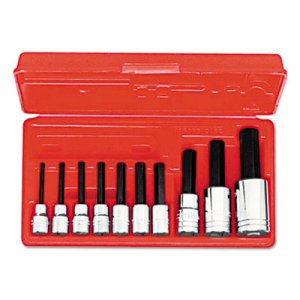 "Proto 10-Piece Hex-Bit Socket Set, Metric, 3/8"" Drive, 1/2"" Drive, 4mm to 17mm PTO4900MA 577-4900MA"