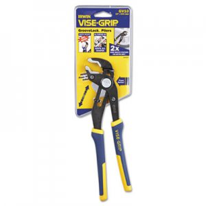 "IRWIN Groovelock V-Jaw Pliers, 10"" Tool Length, 2 1/4"" Jaw Capacity, Gray/Blue/Yellow VSE2078110 586-2078110"