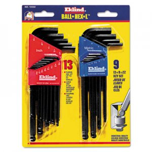 Eklind Ball-Hex-L Key, 22-Piece Set, SAE/Metric, Black Oxide EKL13222 269-13222