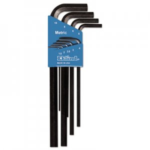 Eklind Nine-Piece Metric L-Wrench Hex Key Set, Long-Arm EKL10609 269-10609
