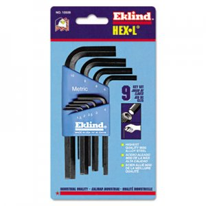 Eklind 9-Piece Metric L-Wrench Hex Key Set, Short-Arm EKL10509 269-10509