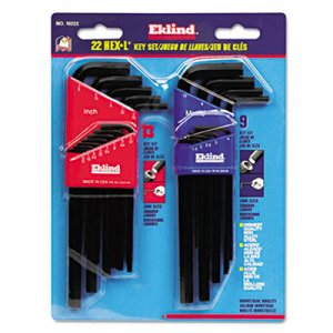 Eklind 22-Piece L-Wrench Hex Key Set, SAE/Metric, Long-Arm EKL10222 269-10222
