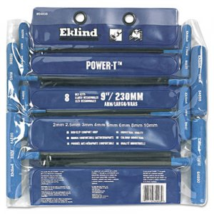 "Eklind 8-Piece Power-T Ball-Hex Key Set, Pouch, 9"" Arm EKL64808 269-64808"