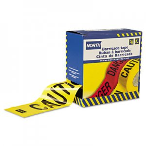 "North Safety Barricade Tape, 3"" x 1000 ft, ""Caution"" Text, Yellow/Black NSPCT3YE1 068-CT3YE1"
