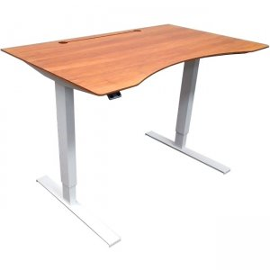 "frasch 48"" Sit-Stand Desk, White Frame / Dark Grain Bamboo Top BDL-6548"