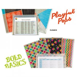 "C-Line Playful Pops and Bold Basics Zip 'N Go Reusable Envelope, 13.13"" x 10"", 3/Pack CLI54610 54610"