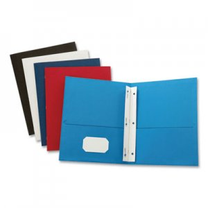 "Oxford Leatherette Two Pocket Portfolio with Fasteners, 8 1/2"" x 11"", Assorted, 10/PK OXF57770 57770"