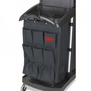 Rubbermaid Commercial Fabric 9-Pocket Cart Organizer, 19 3/4w x 28d x 1 1/2h, Black, 6/Carton RCP9T90BLACT