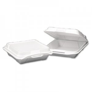 Genpak Foam Hinged Carryout Container, 1-Compartment, 9-1/4x9-1/4x3, White, 100/Bag GNP20010 GNP 20010