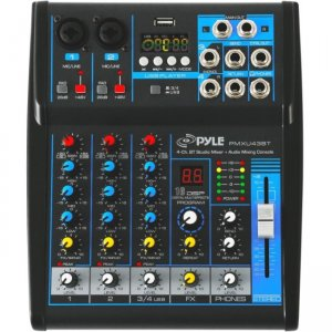 Pyle 4-Ch. Bluetooth Studio Mixer - DJ Controller Audio Mixing Console System PMXU43BT