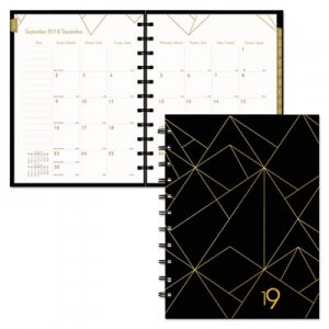 Blueline Gold Collection Monthly Planner, 11 x 9 3/5, White and Black, 2019 REDCF3300302 CF33003.02