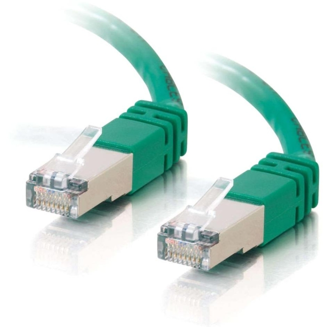 C2G 100 ft Cat5e Molded Shielded Network Patch Cable - Green 28710