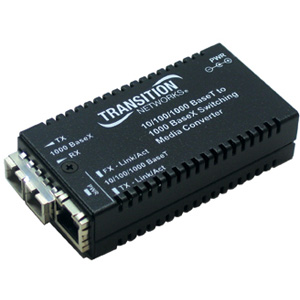 Transition Networks 10/100/1000BaseTX to 1000BaseLX Media Convertor M/GE-PSW-LX-01-NA