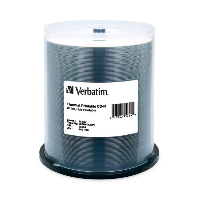 Verbatim CD-R 80MIN 700MB 52x White Thermal Printable, Hub Printable 100pk Spindle 95254