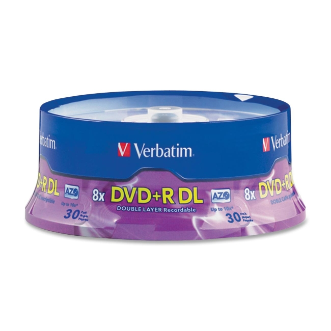 Verbatim Double Layer DVD+R DL 8.5GB 8x 30pk Spindle 96542