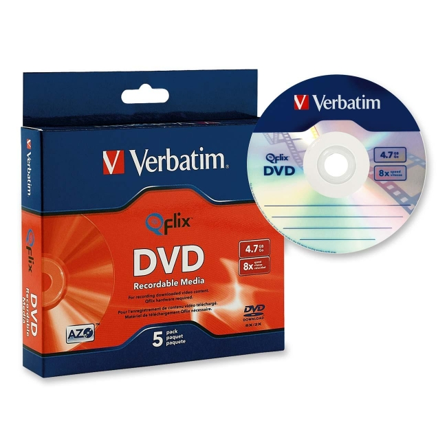 Verbatim DVD-R 4.7GB 8x Qflix Media 5pk Slim Case 96747