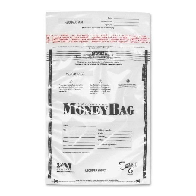 PM SecurIT Plastic Disposable Deposit Money Bag 58004 PMC58004