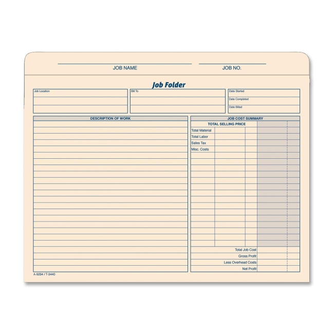 TOPS Job Folder File Jacket 3440 TOP3440