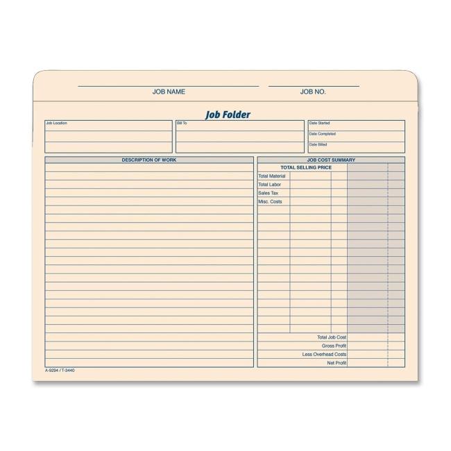 TOPS Job Folder File Jacket 3440 TOP3440