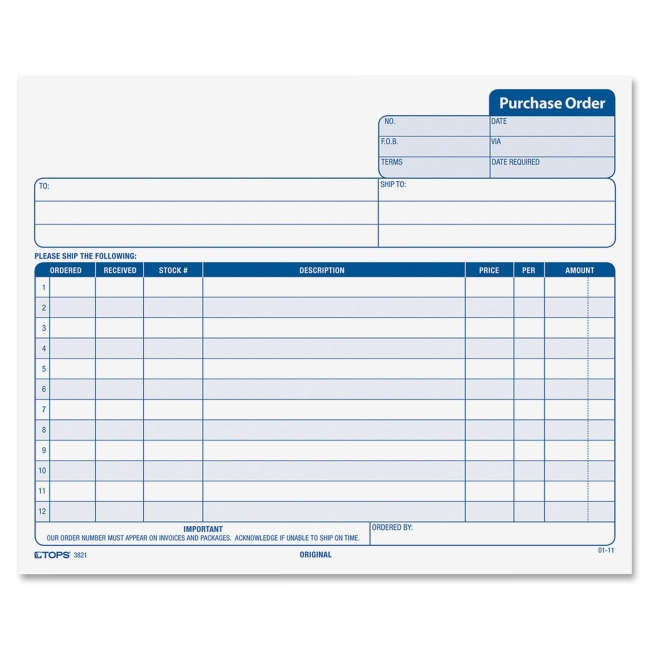 TOPS Purchase Order Form 3821 TOP3821