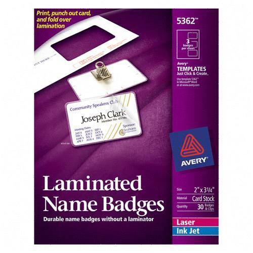 Avery Laminated Name Badge Kit 5362 AVE5362