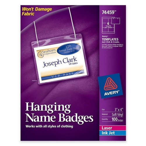 Avery Insertable Name Badge kit 74459 AVE74459