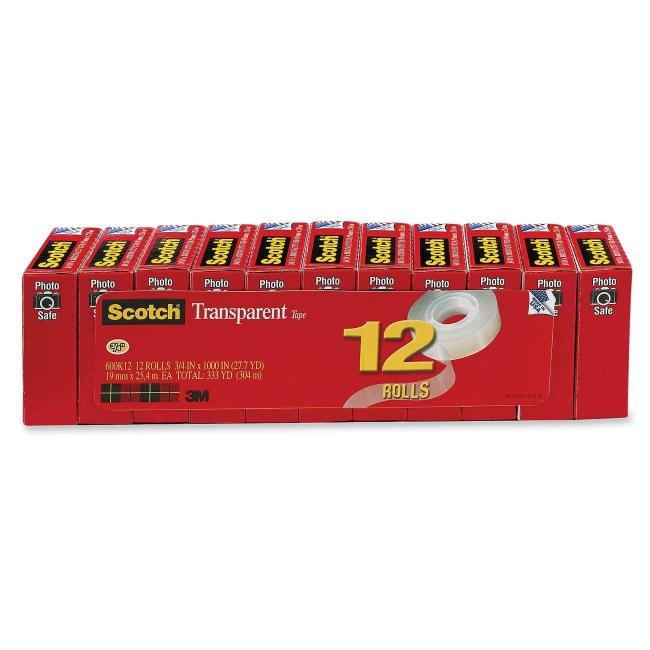 3M Scotch Glossy Transparent Tape 600K12 MMM600K12