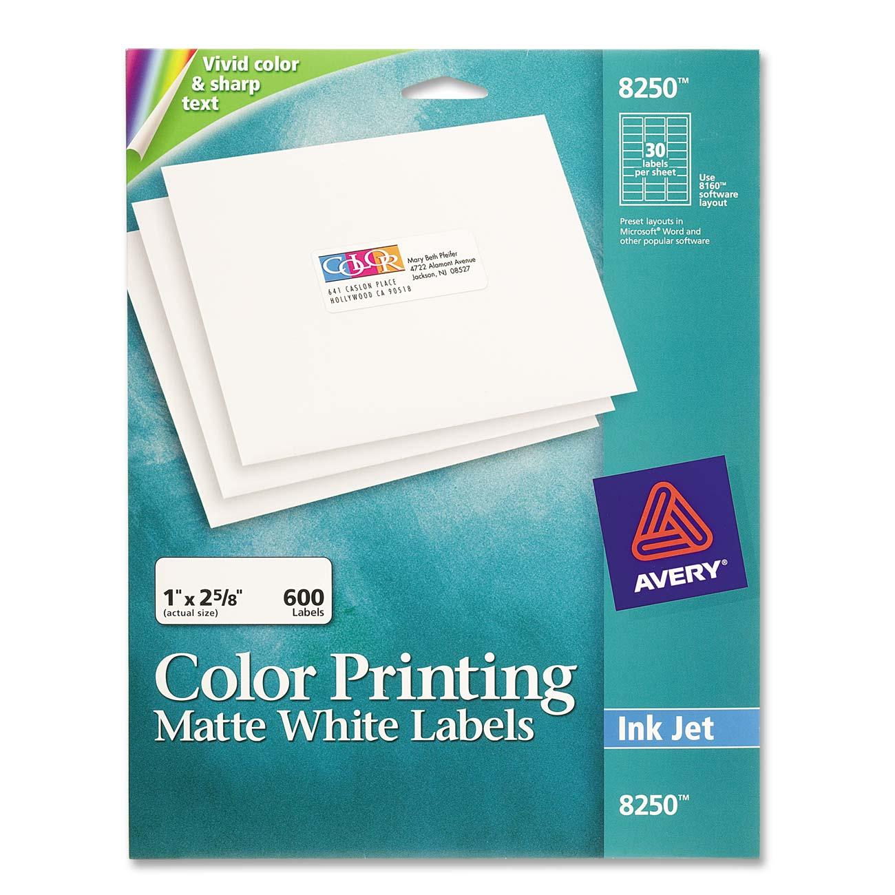 Avery Color Inkjet Printing Labels 8250 Ave8250