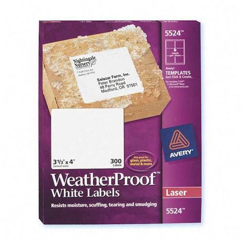 Avery Weather Proof Mailing Labels 5524 AVE5524