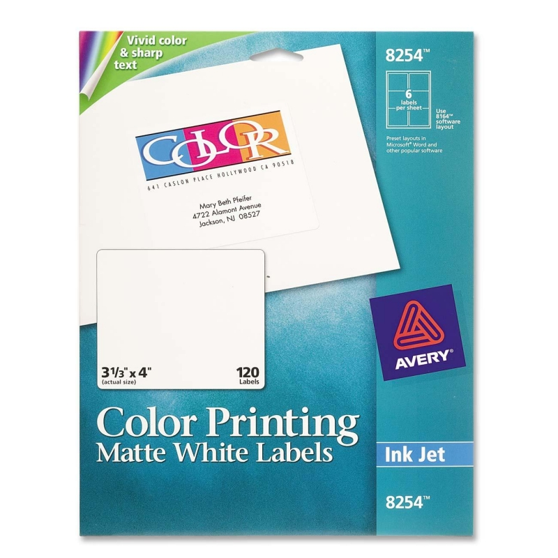 Avery Color Printing Labels 8254 AVE8254