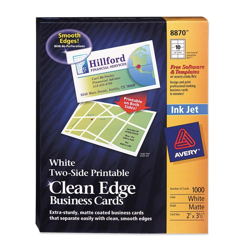 Avery InkJet Clean Edge Business Card 8870 AVE8870