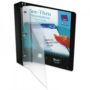 "Avery See-Thru View Binder w/Round Rings, 11 x 8 1/2, 1"" Cap, Black AVE10852 10852"