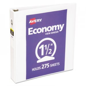 "Avery Economy View Binder with Round Rings , 3 Rings, 1.5"" Capacity, 11 x 8.5, White AVE05726 05726"