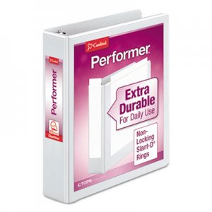 "Cardinal Performer ClearVue Slant-D Ring Binder, 3 Rings, 1.5"" Capacity, 11 x 8.5, White CRD17400 17400CB"