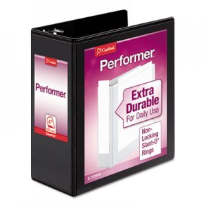 "Cardinal Performer ClearVue Slant-D Ring Binder, 3 Rings, 4"" Capacity, 11 x 8.5, Black CRD17811 17811CB"