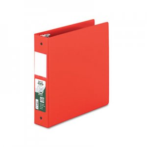 "Samsill Clean Touch Locking Round Ring Reference Binder, Antimicrobial, 2"" Cap, Red SAM14363 14363"