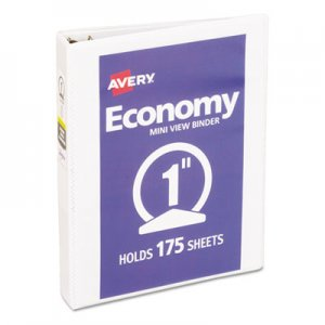 "Avery Economy View Binder w/Round Rings, 8 1/2 x 5 1/2, 1"" Cap, White AVE05806 05806"
