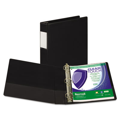 "Samsill Clean Touch Locking D-Ring Reference Binder, Antimicrobial, 1 1/2"" Cap, Black SAM16350 16350"