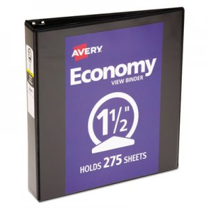 "Avery Economy View Binder with Round Rings , 3 Rings, 1.5"" Capacity, 11 x 8.5, Black AVE05725 05725"