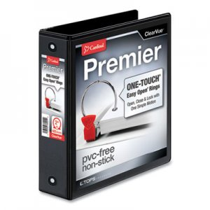 "Cardinal Premier Easy Open ClearVue Locking Round Ring Binder, 3 Rings, 2"" Capacity, 11 x 8.5, Black CRD11121 11121"