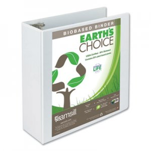 "Samsill Earth's Choice Biobased Round Ring View Binder, 3 Rings, 4"" Capacity, 11 x 8.5, White SAM18997 18997"