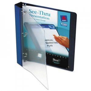 "Avery See-Thru View Binder with Round Rings, 3 Rings, 1"" Capacity, 11 x 8.5, Blue AVE10851 10851"