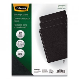 Fellowes Executive Leather-Like Presentation Cover, Round, 11-1/4 x 8-3/4, Black, 50/PK FEL52146 52146
