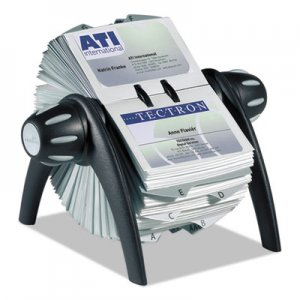 Durable VISIFIX Rotary Business Card File Holds 400 4 1/8 x 2 7/8 Cards, Black/Silver DBL241701 241701