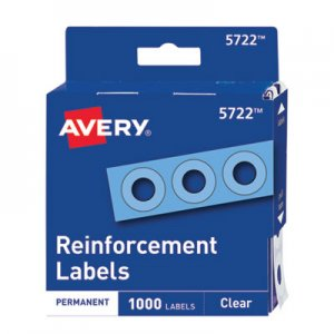 "Avery Dispenser Pack Hole Reinforcements, 1/4"" Dia, Clear, 1000/Pack AVE05722 05722"