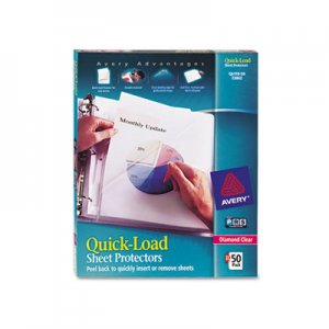 Avery Quick Top & Side Loading Sheet Protectors, Letter, Diamond Clear, 50/Box AVE73802 73802